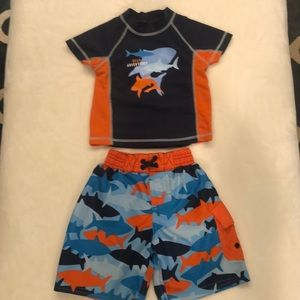 Toddler Boy Swimming Trunks & Rashguard Shirt